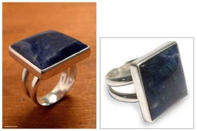Hand Made Fine Silver Sodalite Cocktail Ring