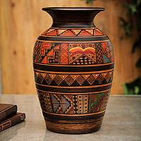 Ceramic vase, 'Sowing Fields' - Inca Ceramic Vase Brown Painted Handmade in Peru