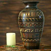 Ceramic vase, 'Sacred Valley' - Hand Crafted Cuzco Ceramic Vase