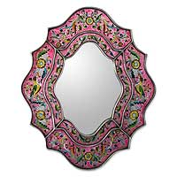 Mirror, 'Wild Orchids' - Hand Crafted Reverse Painted Glass Wall Mirror