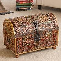 Wood and leather trunk, 'Royal Lion' - Colonial Wood Leather Brown Chests Handmade Furniture
