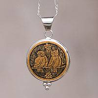 Mate gourd necklace, 'Brown Owls' - Mate gourd necklace