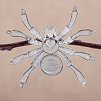 Silver filigree brooch pin, 'Gossamer Spider' (Peru)