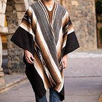 Men's 100% alpaca poncho, 'Road to Huancayo' - Men's Alpaca Wool Poncho