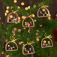 Ornaments, 'Christmas Gifts' (set of 6) - Ornaments (Set of 6)