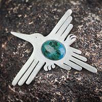 Chrysocolla pendant, 'Hummingbird' - Chrysocolla pendant