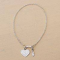 Silver anklet, 'Charmed Heart' - Handmade Heart Shaped Fine Silver Chain Anklet