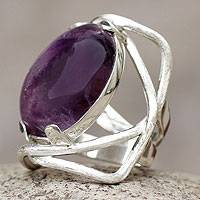 Amethyst cocktail ring, 'Orbit' - Amethyst and Silver Cocktail Ring
