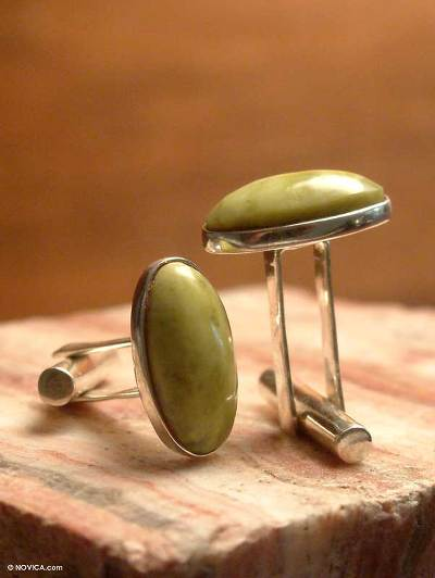 Handsome Serpentine Silver Cufflinks from Peru