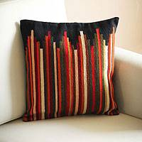 Wool cushion cover, 'Andean Dream' - Geometric Wool Striped Cushion Cover