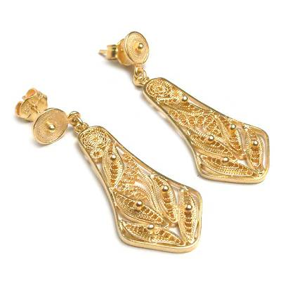 Handmade Gold Plated Filigree Earrings from Peru