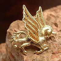 Gold plated filigree brooch pin, 'Pegasus' - Gold plated filigree brooch pin