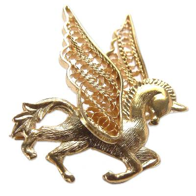 Gold plated filigree brooch pin