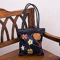 Leather handbag, 'Night Flowers' - Hand Made Floral Leather Shoulder Bag