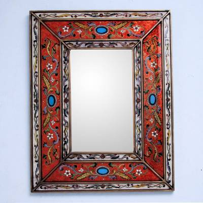 Mirror, 'Orange Cajamarca Warmth' - Rectangular Reverse Painted Glass Wall Mirror from Peru