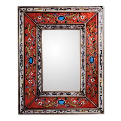Mirror, 'Red Cajamarca Warmth' - Rectangular Reverse Painted Glass Wall Mirror from Peru