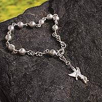 Silver dangling bracelet, 'Angel Guardian' - Sterling Silver Rosary Bracelet with Angel Charm