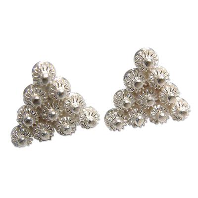 Fine Silver Button Earrings