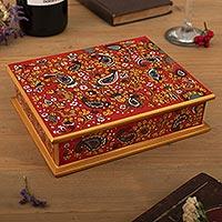 Painted glass jewelry box, 'Passion' (Peru)