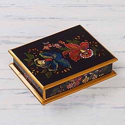 Painted glass jewelry box, 'Orchids' - Handmade Reverse Painted Glass Jewelry Box from Peru