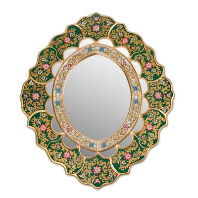 Hand Crafted Peruvian Floral Mirror