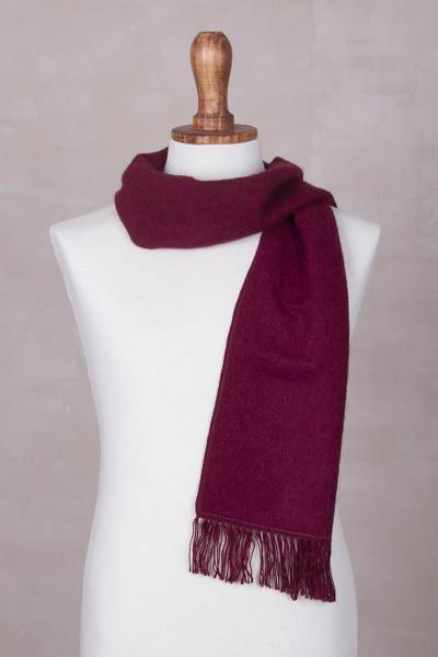 Alpaca blend scarf, 'Cherry Wine' - Alpaca Wool Solid Burgundy Scarf