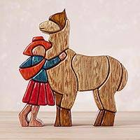 Cedar and mahogany sculpture Love My Llama Peru