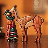 Cedar and mahogany sculpture Cuzco Shepherdess Peru