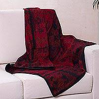 Alpaca blend throw blanket, 'Paracas Treasure' (Peru)
