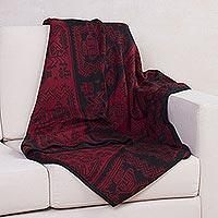 Alpaca blend blanket, 'Paracas Treasure' - Alpaca Blend Patterned Blanket in Red and Black