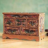 Wood and leather jewelry box, 'Antique Ivy' - Embossed Leather and Wood Jewelry Box from Peru