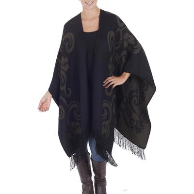 Collectible Alpaca Wool Reversible Wrap Ruana