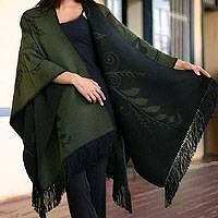 Alpaca blend ruana cloak, 'Verdant Splendor' - Handcrafted Floral Blend Reversible Wrap Ruana