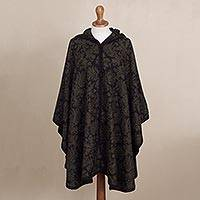 Alpaca blend ruana cloak, 'Lush Leaves' - Hand Crafted Alpaca Wool Patterned Green Poncho