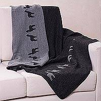 Alpaca blend throw blanket, 'Alpaca Eclipse' - Alpaca Throw Blanket in Grey from Peru