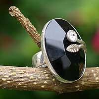 Obsidian floral ring,