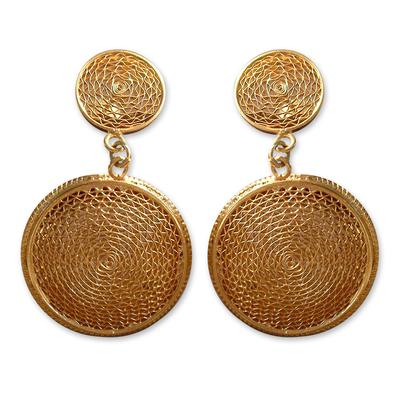 21K Gold Plated Dangle Filigree Earrings