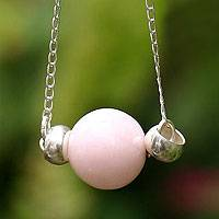 Rose calcite pendant necklace,