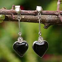 Obsidian heart earrings,