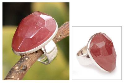 Peruvian Rhodochrosite Solitaire 925 Sterling Silver Ring