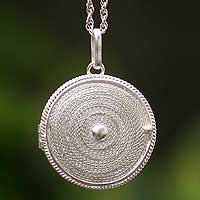 Silver filigree necklace, 'Precious Secret' - Artisan Crafted Peruvian Sterling Silver Locket Necklace