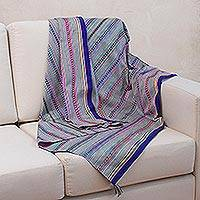 Wool lap throw blanket, 'Andean Mists' - Hand Made Wool Striped Lap Throw Blanket