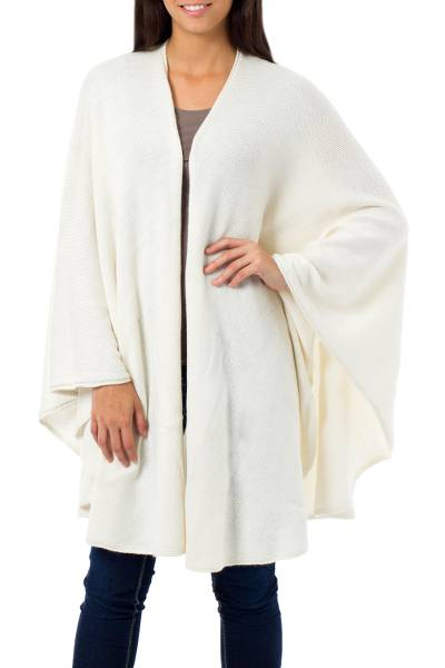 Alpaca Wool Blend Solid Wrap Ruana