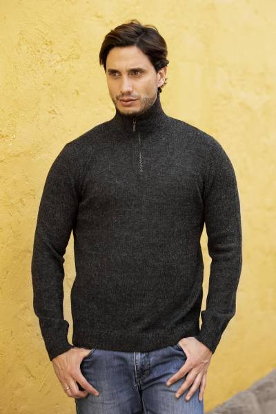 100% alpaca men's sweater, 'Casual Gray' - Alpaca Wool Grey Men's Pullover Sweater