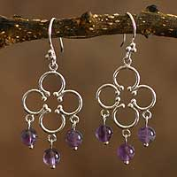 Amethyst chandelier earrings, 'Fortunate' - Amethyst chandelier earrings