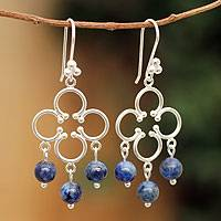Lapis lazuli chandelier earrings, 'Fortunate' - Hand Made Sterling Silver Chandelier Lapis Earrings