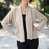 Alpaca blend sweater, 'Versatility' - Handcrafted Alpaca Blend Cardigan Sweater