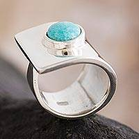 Amazonite cocktail ring, 'Wrap' - Handcrafted Silver and Amazonite Ring