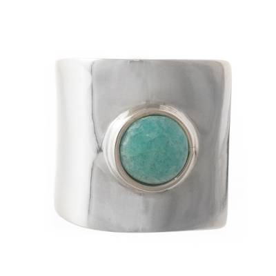 Handcrafted Silver and Amazonite Ring