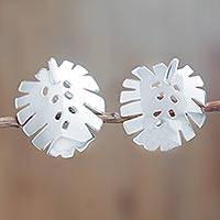 Sterling silver clip-on earrings, 'Tropical Leaf' - Sterling Silver Clip-On Earrings